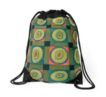 Strong Green Grid filled with Yellow Circles Drawstring Bag