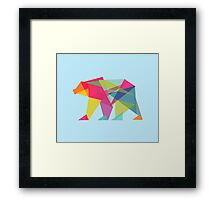 Fractal Bear - neon colorways Framed Print