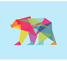 Fractal Bear - neon colorways Photographic Print
