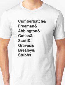 Sherlock cast member names  Unisex T-Shirt