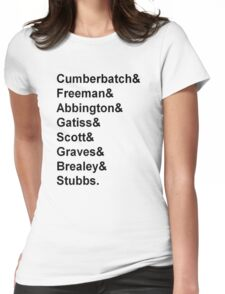 Sherlock cast member names  Womens Fitted T-Shirt