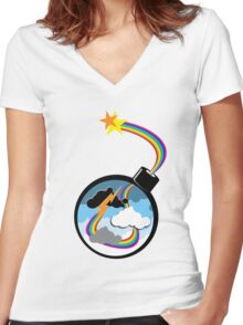 Cloud Bomber Women's Fitted V-Neck T-Shirt