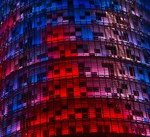 Bright Blue, Red and Pink Illumination - Agbar Tower, Barcelona, Catalonia, Spain by Georgia Mizuleva