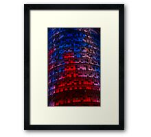 Bright Blue, Red and Pink Illumination - Agbar Tower, Barcelona, Catalonia, Spain Framed Print