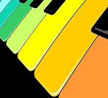Piano Keyboard Rainbow Colors  by BluedarkArt
