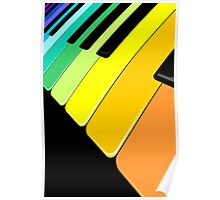 Piano Keyboard Rainbow Colors  Poster