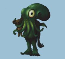 H P Lovecraft Baby Cthulhu with Teddy One Piece - Short Sleeve