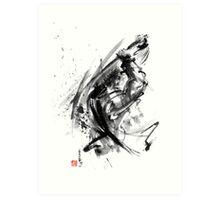 Samurai ronin wild fury bushi bushido martial arts sumi-e original ink painting artwork Art Print