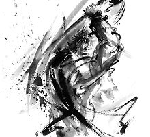 Samurai ronin wild fury bushi bushido martial arts sumi-e original ink painting artwork by Mariusz Szmerdt