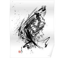 Samurai ronin wild fury bushi bushido martial arts sumi-e original ink painting artwork Poster