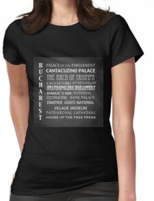 Bucharest Famous Landmarks Womens Fitted T-Shirt