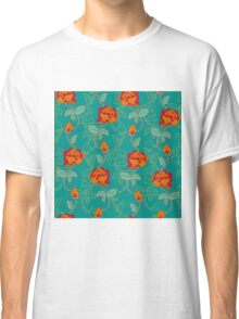 Floral pattern with orange roses Classic T-Shirt