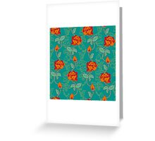 Floral pattern with orange roses Greeting Card