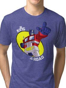 Optimus Prime - King of the Road (black tee) Tri-blend T-Shirt