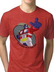 Optimus Prime - Transform and Roll Out Tri-blend T-Shirt