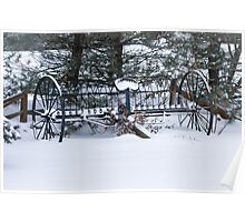 Old Farm Cultivator covered in Snow Poster