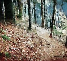 Hiking Trail Through The Woods by Jean Gregory  Evans