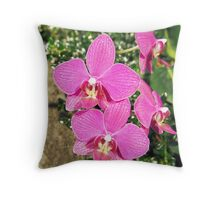 Pink Orchid Collage Throw Pillow