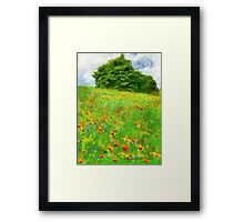 Hillside With Flowers And Trees Framed Print
