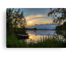 Sunset with boat Canvas Print