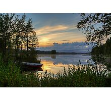 Sunset with boat Photographic Print