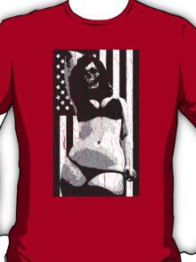 USA Flag Evil Chick (Vintage Distressed) T-Shirt