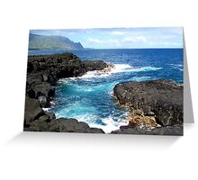 Blue Ocean Waters of Queens Bath on Kauai Hawaii Greeting Card