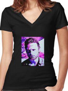 Walking Dead Rick Grimes Women's Fitted V-Neck T-Shirt