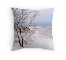 Village under the Snow. Russia Throw Pillow
