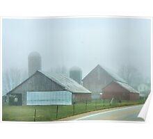 Vintage Barns in Fog Poster