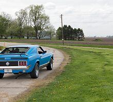 Dead Man's Curve with Ford Mustang Mach 1 on Route 66, Towanda, IL by swtrekker