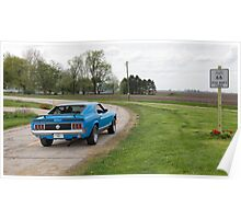 Dead Man's Curve with Ford Mustang Mach 1 on Route 66, Towanda, IL Poster