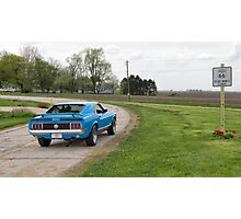 Dead Man's Curve with Ford Mustang Mach 1 on Route 66, Towanda, IL Photographic Print