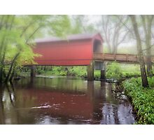 Sugar Creek Covered Bridge Misty reflection, near Route 66, Glenarm, IL Photographic Print