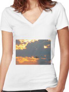 T-28 Trojan Trainer Fighter Plane Women's Fitted V-Neck T-Shirt
