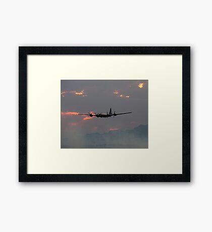 B-29 Bomber Plane flying at Sunset Framed Print