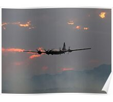 B-29 Bomber Plane flying at Sunset Poster