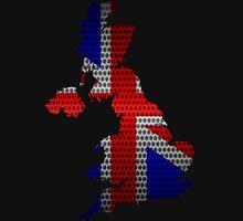 United Kingdom Flag and Map Steel Metal Hole Unisex T-Shirt
