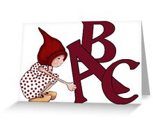 ABC's, Gnome Girl With Alphabet Letter, Children Greeting Card