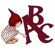 ABC's, Gnome Girl With Alphabet Letter, Children Photographic Print