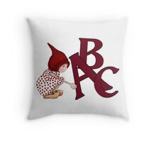ABC's, Gnome Girl With Alphabet Letter, Children Throw Pillow