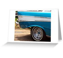 Chevrolet Blue and White Classic Bel Air Muscle Car Greeting Card