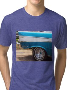Chevrolet Blue and White Classic Bel Air Muscle Car Tri-blend T-Shirt