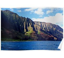 Blue Pacific and Rugged Na Pali Coastline of Kauai Hawaii Poster