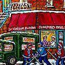 RUE ST.VIATEUR BUTCHER SHOP VINTAGE MONTREAL STREET SCENE by Carole  Spandau