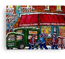 RUE ST.VIATEUR BUTCHER SHOP VINTAGE MONTREAL STREET SCENE Canvas Print