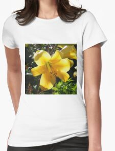 Sunlight filtering through Yellow Day Lilly Flower Womens Fitted T-Shirt