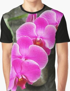 Fuchsia Pink Tropical Orchid Flowers near Waterfall Graphic T-Shirt