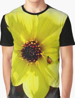 Yellow Dahlia Flower with Ladybug  Graphic T-Shirt