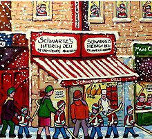 MONTREAL WINTER CITY STREET PAINTING SNOWING AT SCHWARTZ'S DELI by Carole  Spandau